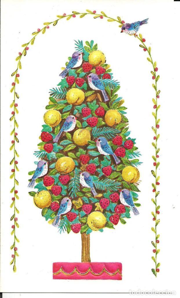 FELICITACION NAVIDAD * ARBOL ADORNADO CON FRUTA Y PAJARITOS* EN RELIEVE - DIPTICA, 19X11,5 CM (Postales - Postales Temáticas - Navidad)