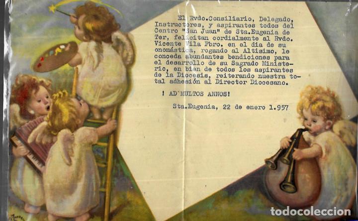 FELICITACION NAVIDAD ZANBRINO - DÍPTICO AÑO 1957 (Postales - Postales Temáticas - Navidad)