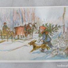 Postales: CEFISCHER - VÍSPERA DE NAVIDAD - ORIGINAL PINTADO CON LA BOCA - POSTAL S/C. Lote 194192093