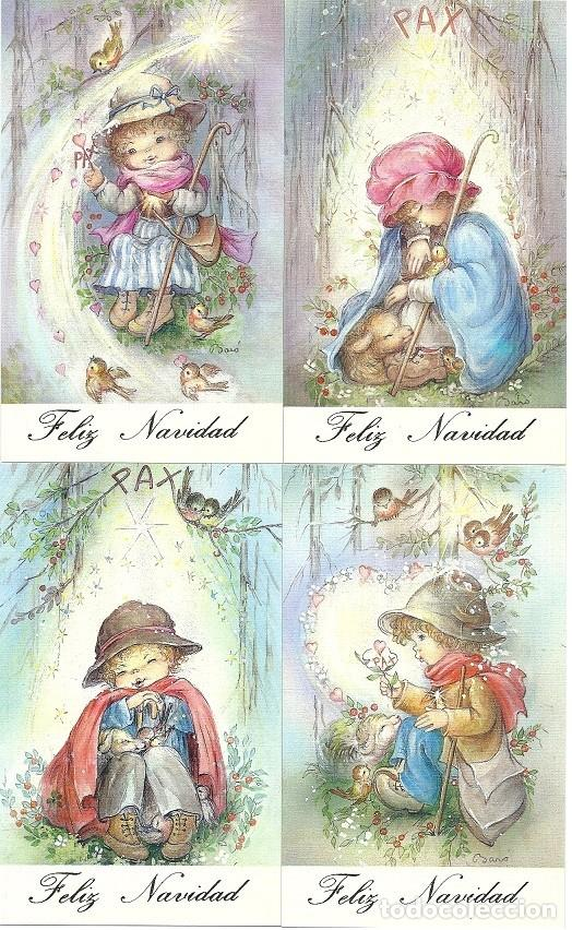 9121- NURIA BARÓ EDIC.CYZ - 4 POSTALES SERIE 670.128 COMPLETA -A,B,C,D - 13,5X8,3 CM (Postales - Postales Temáticas - Navidad)