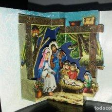 Postales: FELICITACION TROQUELADA NAVIDAD * NACIMIENTO * ADORNADA CON PURPURINA-1966. Lote 194272436