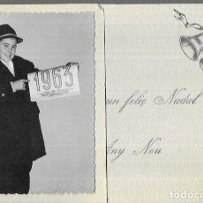 Postales: FELICITACION NAVIDAD * FOTO CHICO * 1962 (SALT- GIRONA). Lote 194284898