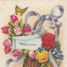 Postales: POSTAL ILUSTRADA DE FELICITACIÓN. IMPRESA EN ESPAÑA. ESCRITA.. Lote 194509710