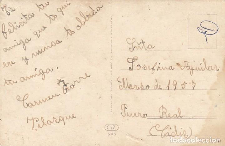 Postales: Postal ilustrada de felicitación. Niña con flores. Edita. C y Z. Escrita. - Foto 2 - 194511171