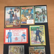 Postales: LOTE DE FELICITACIONES NAVIDAD CARTEROS FAROLERO BASURERO TODAS ORIGINALES DE LA EPOCA. Lote 194556335