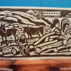 Postales: TARJETA NAVIDEÑA. BONES FESTES I FELIÇ 1972. JOSEP BRUNET. DÍPTICO. USADA. Lote 194597780