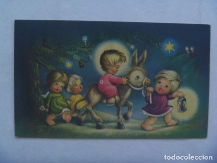 BONITA TARJETA DE FELICITACION DE NAVIDAD CON DIBUJO DEL NIÑO DIOS EN BURRO, 1962 (Postales - Postales Temáticas - Navidad)