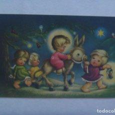 Postales: BONITA TARJETA DE FELICITACION DE NAVIDAD CON DIBUJO DEL NIÑO DIOS EN BURRO, 1962. Lote 195303737