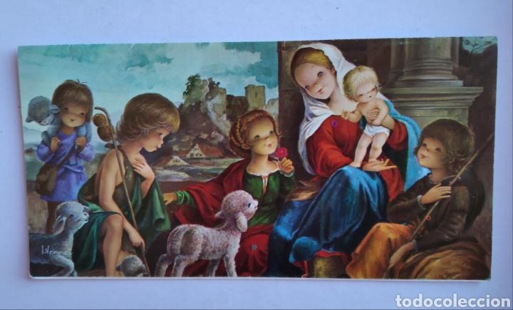 TARJETA DIPTICO FELICITACIÓN NAVIDAD ILUSTRA VERNET 1972 / 8 X 15 CM (Postales - Postales Temáticas - Navidad)