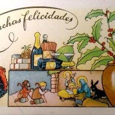 Postales: TARJETA DE FELICITACIÓN DE TAMAÑO REDUCIDO. USADA. COLOR. Lote 195532088