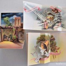 Postales: LOTE 3 FELICITACIONES NAVIDAD DIORAMAS AÑOS 50 MUY BONITAS (VER FOTOS). Lote 202623050