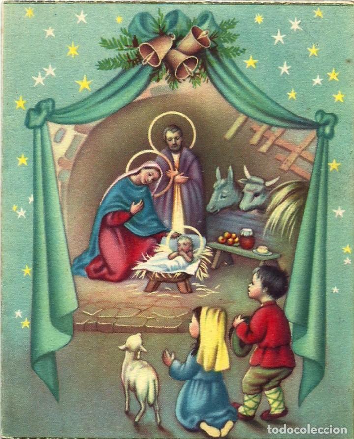 6054B - HERMOSA Y ANTIGUA POSTAL NAVIDEÑA - EDICIONES D 4- SERIE 16- DIPTICA 12,5X10,3 CM - 1959 (Postales - Postales Temáticas - Navidad)