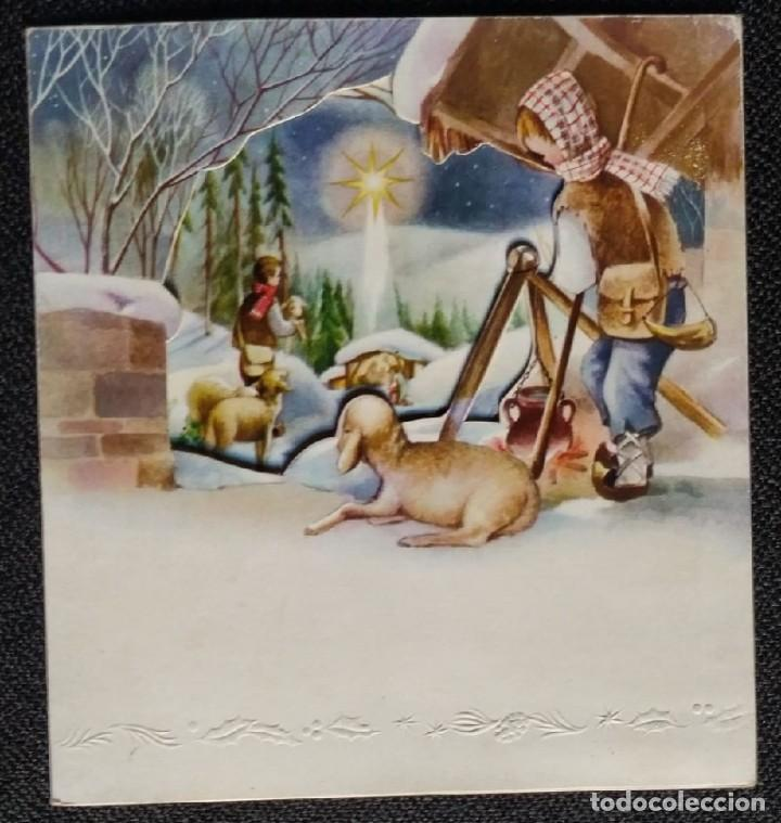 6058B - EDICIONES SABADELL IMPERATOR MODELO 1- TRIPTICA 12X11 CM-DATA 1957 (Postales - Postales Temáticas - Navidad)
