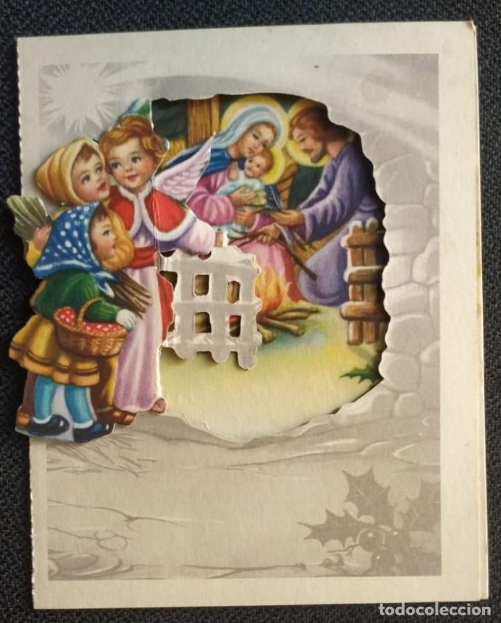 6096B - GIRONA? EDICIONES PAJARITA SERIE 860.3- DIPTICA, TROQUELADA 12X9,8 CM - DATA 1963 (Postales - Postales Temáticas - Navidad)