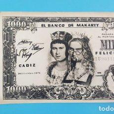 Postales: FELICITACION NAVIDAD BILLETE 1000 DEL BANCO DE MAKARTY 24.12.1973, AL DORSO COPLA AL CADIZ CF FUTBOL. Lote 205566735