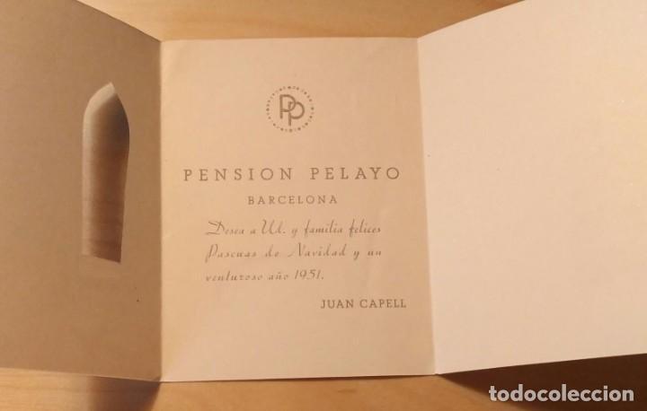 Postales: PN 20 Antigua Felicitación Navidad y venturoso año 1951 - Pensión Pelayo - Barcelona - Foto 3 - 205823317