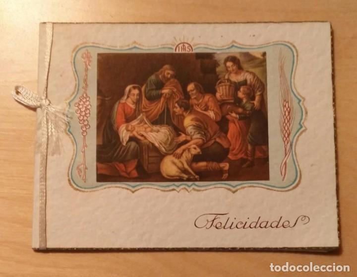PN 25 ANTIGUA PEQUEÑA FELICITACIÓN NAVIDEÑA DOBLE - BARCELONA 1948 - 11CM X 8.50CM (Postales - Postales Temáticas - Navidad)