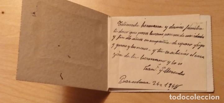 Postales: PN 25 Antigua Pequeña Felicitación Navideña doble - Barcelona 1948 - 11cm x 8.50cm - Foto 2 - 205842322