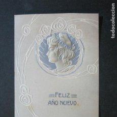 Postales: FELIZ AÑO NUEVO-CON RELIEVE-POSTAL ANTIGUA-(72.544). Lote 210696841