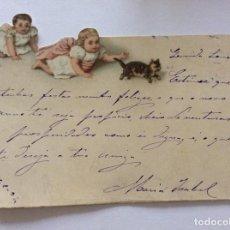 Postales: TARGETA DE FELIZ NAVID CON NIÑOS. EDITADO ENPORTUGAL, CIRCULADO CON FECHA 1892. 8,3 X 10,8 CM. EXCEL. Lote 214570638
