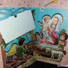 Postales: FELICITACION TROQUELADA NAVIDAD * NIÑOS EN EL PORTAL ,ADORANDO A JESÚS * CON PURPURINA -1969. Lote 215469525