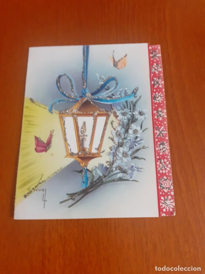 Postales: dos felicitaciones de Navidad de los años 50 troqueladas y con purpurina, escritas - Foto 2 - 215493350