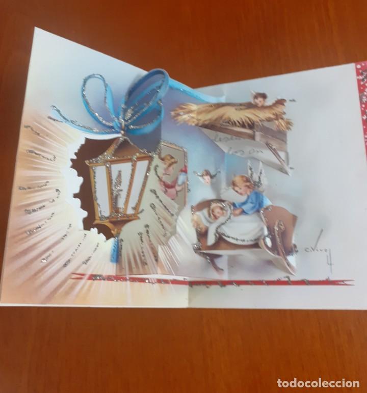 Postales: dos felicitaciones de Navidad de los años 50 troqueladas y con purpurina, escritas - Foto 3 - 215493350