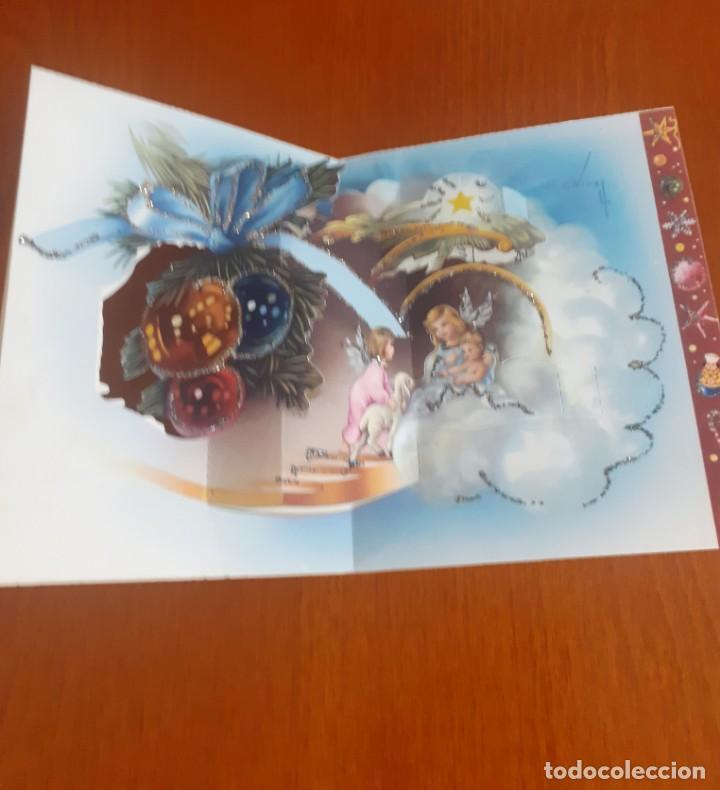 Postales: dos felicitaciones de Navidad de los años 50 troqueladas y con purpurina, escritas - Foto 4 - 215493350