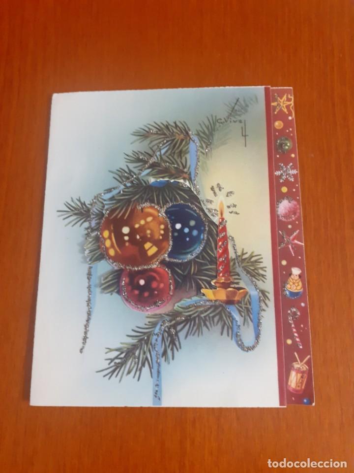 Postales: dos felicitaciones de Navidad de los años 50 troqueladas y con purpurina, escritas - Foto 5 - 215493350