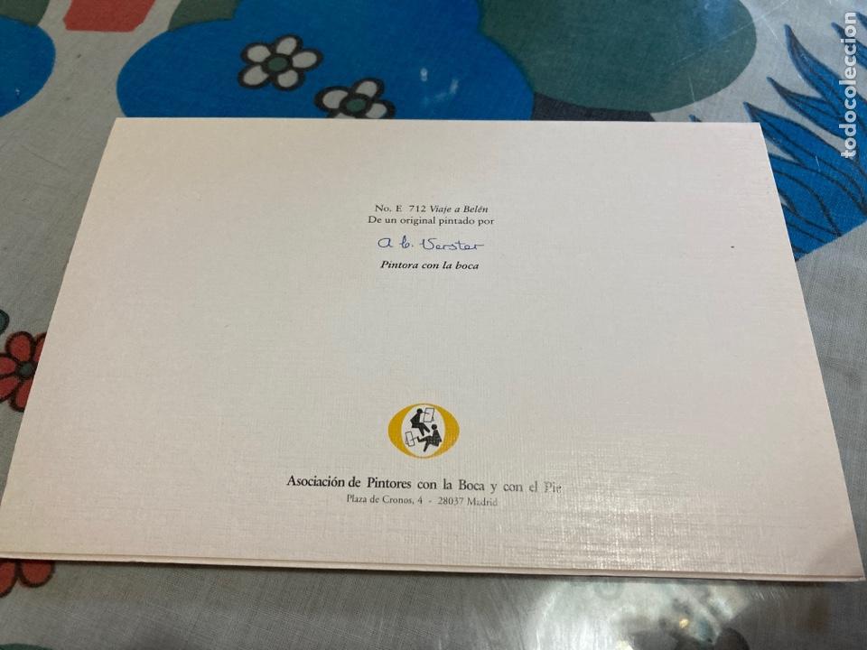 Postales: Postal navideña. Asociación de pintores con la boca y el pie. Viaje a Belen - Foto 2 - 215566940