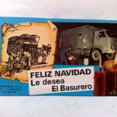 Postales: TARJETA FELICITACIÓN NAVIDEÑA,AQUINALDO FELIZ NAVIDAD EL BASURERO.. Lote 217588775