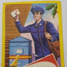 Postales: ANTIGUA FELICITACION CORREOS -EL CARTERO- TRASERA TARIFA PRECIOS POSIBLEMENTE ÚNICA DE MORAGON. Lote 218882273