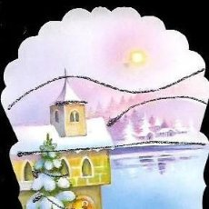 Cartes Postales: FELICITACION NAVIDAD CALENDARIO * CAMINO DE LA IGLESIA * ADORNADO CON PURPURINA 1997. Lote 271852313