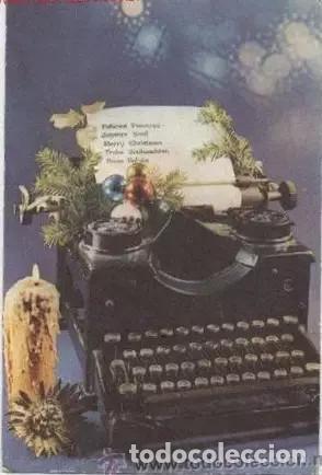 ANTIGUA FELICITACION DE NAVIDAD CON FOTO DE UNA ANTIGUA MAQUINA DE ESCRIBIR (Postales - Postales Temáticas - Navidad)