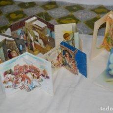 Postales: DE COLECCIÓN, ANTIGUOS / LOTE 7 CHRISTMAS / FELICITACIONES DE NAVIDAD, DIORAMAS - ¡MIRA, PRECIOSOS!. Lote 220474692