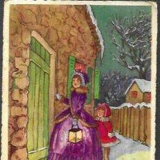 Postales: POSTAL NAVIDAD * MADRE E HIJA LLAMANDO A LA PUERTA *1957. Lote 221391891