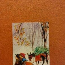 Postales: PAREJA PASEANDO EN EL CAMPO. TARJETA DE NAVIDAD. SIN USAR. MEDIDAS 9.5*6 CM. Lote 221800793