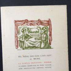 Postales: POSTAL NAVIDAD FAMILIA BENAVENT - TORRAS BARCELONA 1950 ANTONI GELABERT. Lote 223810013