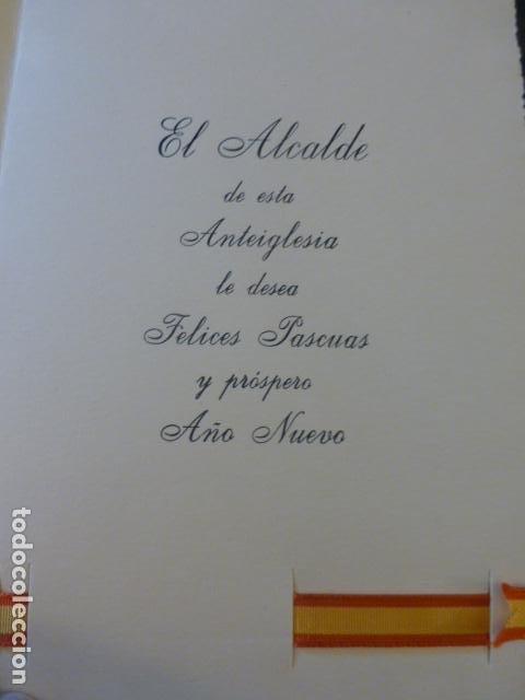 Postales: FELICITACION NAVIDAD AYUNTAMIENTO ALCALDE DE BARACALDO VIZCAYA BANDERA DE ESPAÑA EN TELA - Foto 2 - 226759955