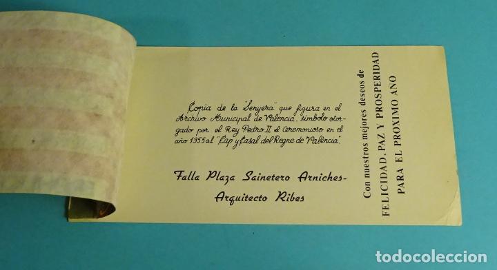 Postales: TARJETA FELICITACIÓN AÑO NUEVO FALLA PLAZA S. ARNICHES - ARQUITECTO RIBES. SEÑERA DE VALENCIA - Foto 2 - 229484265