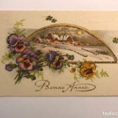 Postales: BONNE ANNEE, FELICES FIESTAS. TARJETA POSTAL TROQUELADA FELICITACIÓN NAVIDEÑA (A.1955). Lote 230629300