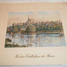 Postales: FELICITACION NAVIDAD INGLESA CON PAPEL ESPECIAL WINDSOR CASTLE FROM THE RIVER AÑOS 50. Lote 236618625