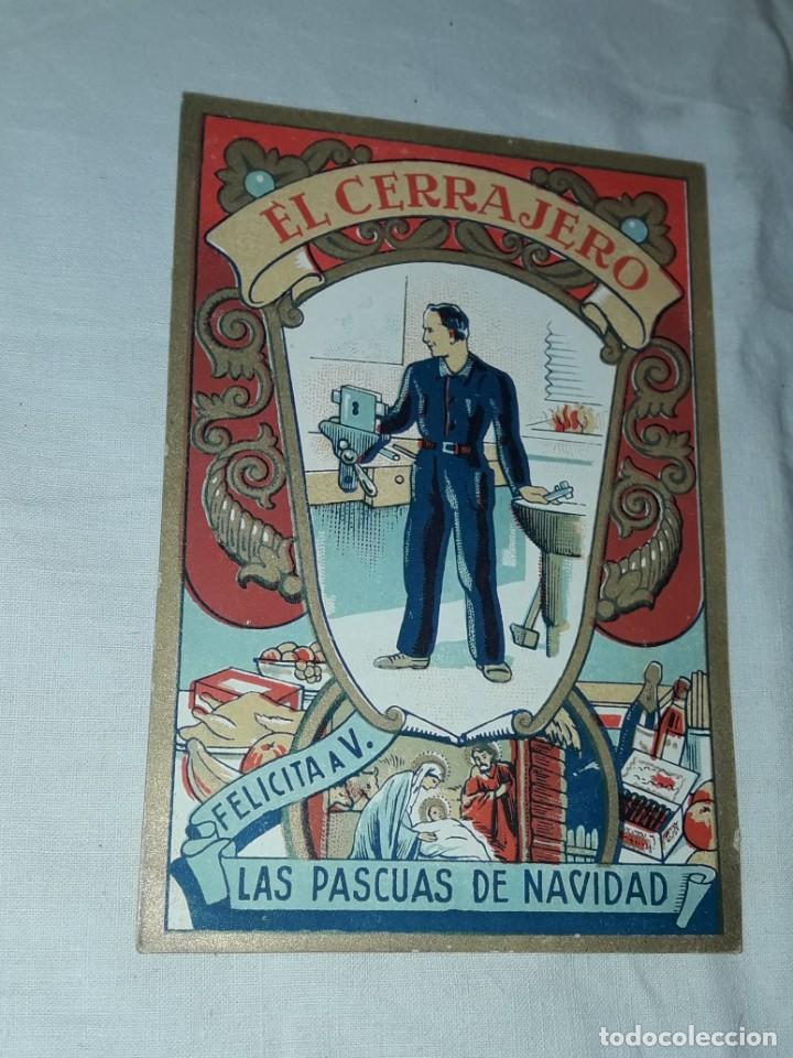 Postales: Antigua tarjeta El Cerrajero Les Felicita Las Pascuas de Navidad - Foto 2 - 241322410