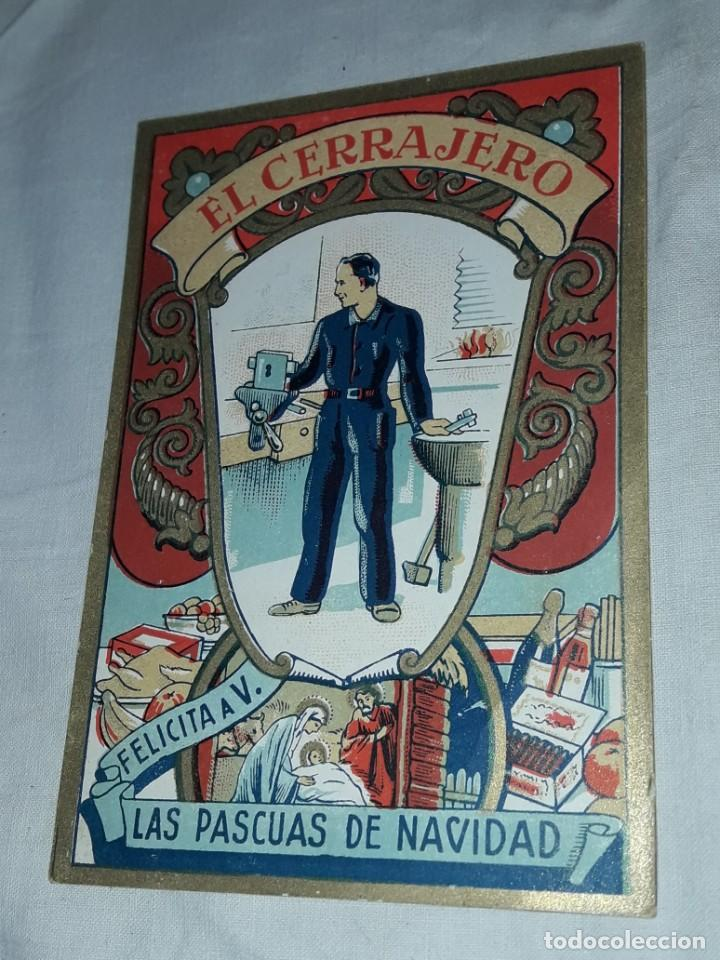 Postales: Antigua tarjeta El Cerrajero Les Felicita Las Pascuas de Navidad - Foto 4 - 241322410