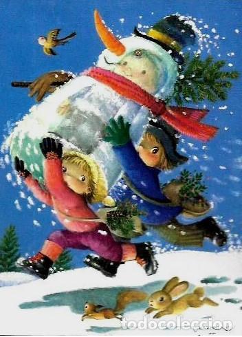 311- FELICITACION NAVIDAD FERRÀNDIZ * NIÑOS CORRIENDO CON UN MUÑECO DE NIEVE * 1970 (Postales - Postales Temáticas - Navidad)