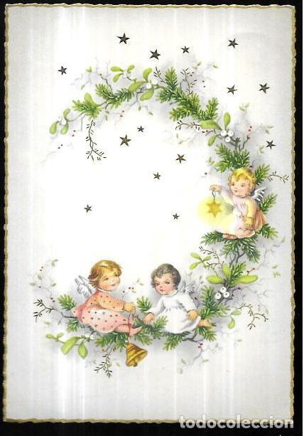 POSTAL NAVIDAD * ANGELITOS SOBRE UNA RAMA * (Postales - Postales Temáticas - Navidad)