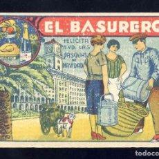 Postales: FELICITACION NAVIDEÑA DE OFICIOS: EL BASURERO. EN CARTON RECIO. Lote 244598415