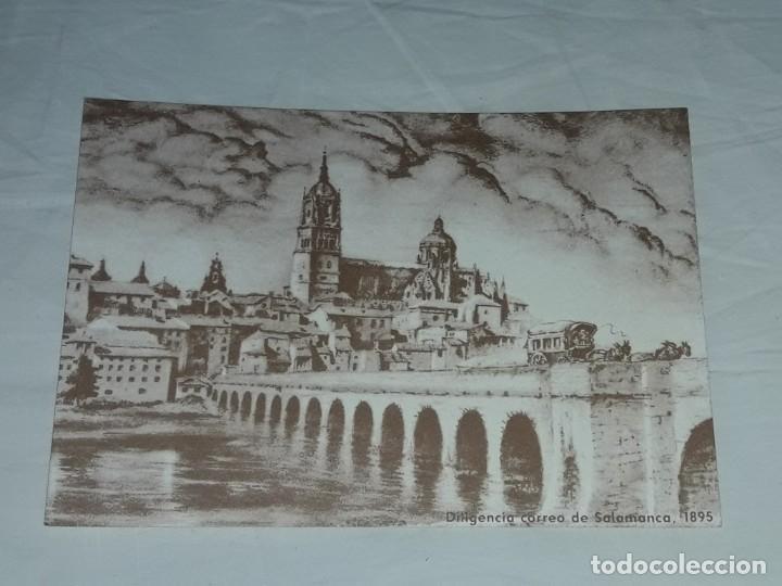 Postales: Antigua postal felicitaciones diligencia correos Salamanca año 1895 primer centenario 1889 - 1989 - Foto 3 - 252079865