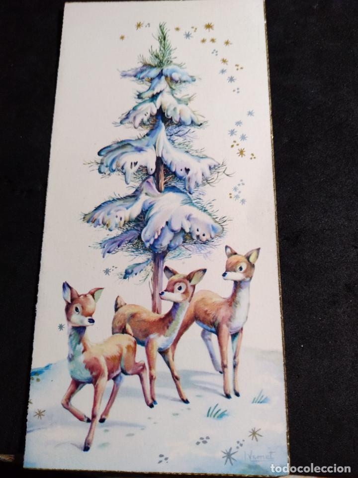 FELICITACION NAVIDAD VERNET * CERVATILLOS BAJO EL ARBOL NEVADO * C Y Z 1961 (Postales - Postales Temáticas - Navidad)