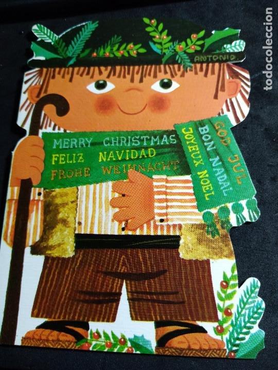 FELICITACION NAVIDAD ANTONIO * PASTOR * 1972 -SILUETA TROQUELADA (Postales - Postales Temáticas - Navidad)